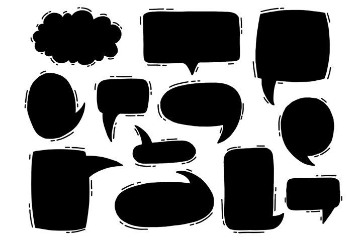 Bubble speech chat set,black color