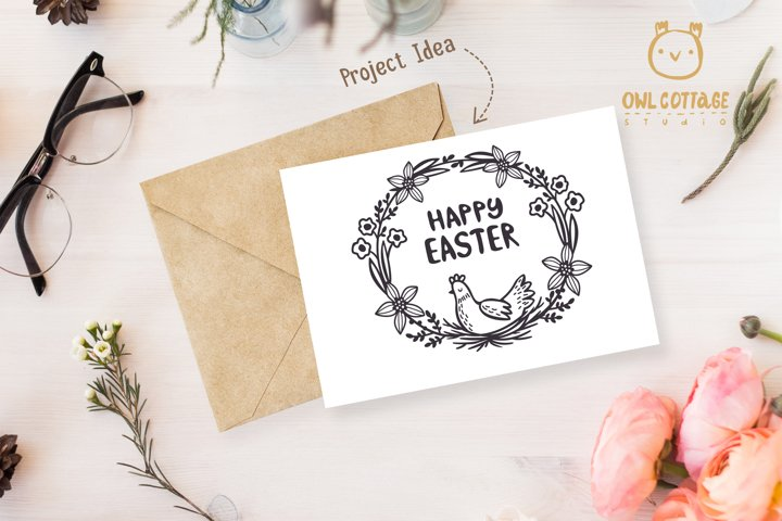 Easter Wreath with Hen svg, Easter Floral Monogram, Easter example 7