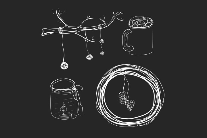 Winter doodle decor isolated vector illustration.