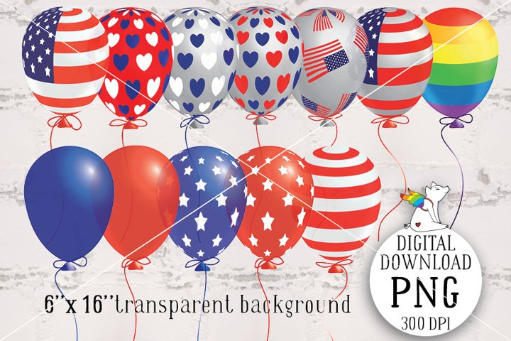 Patriotic Ballons Clipart, 4th of july,