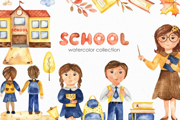 SCHOOL. Watercolor collection. Clipart, cards, patterns