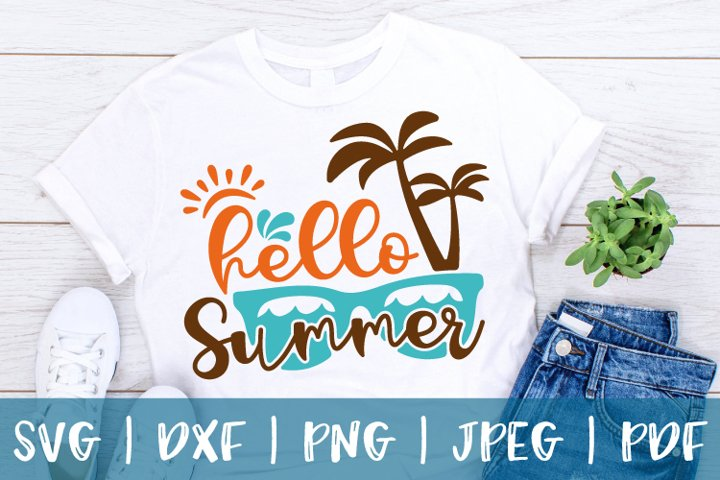 Hello Summer svg, Summer svg, Summer sign svg, dxf, png