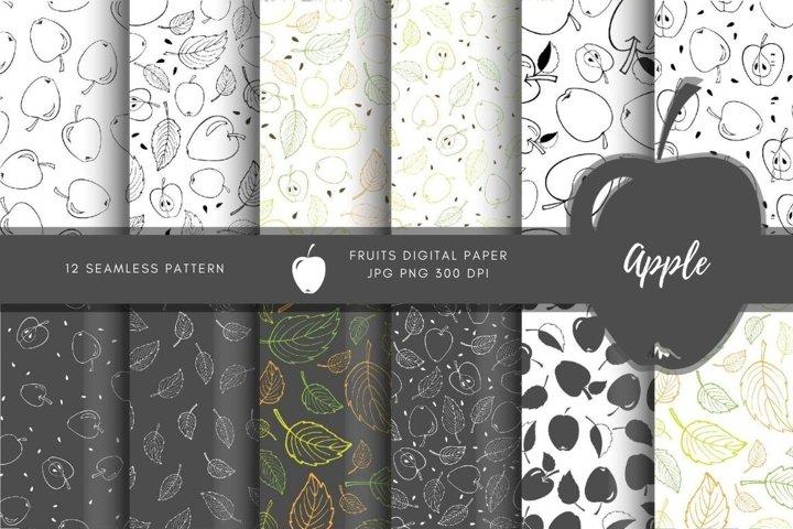 Apples digital paper. Monochrome apples seamless pattern set