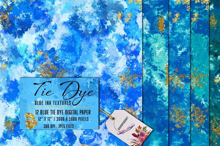 Tie Dye Digital Paper, Blue & Gold tie dye backgrounds, Card