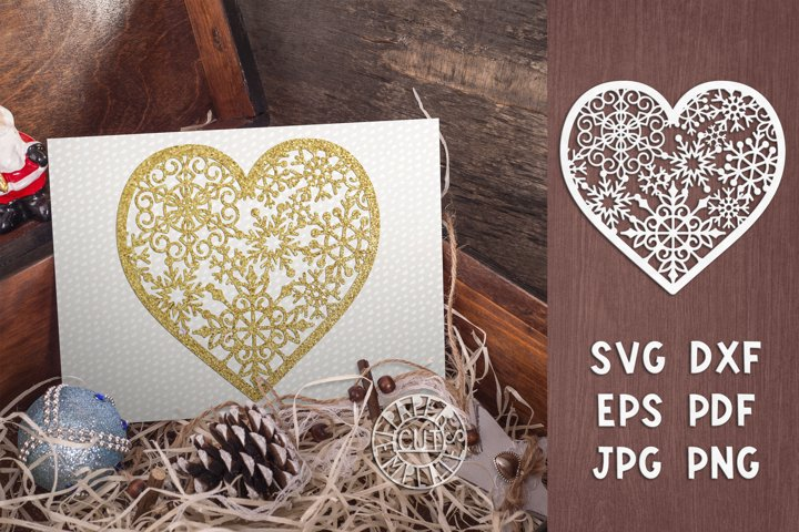SVG Christmas Snow heart for Cricut, laser cut, paper craft.