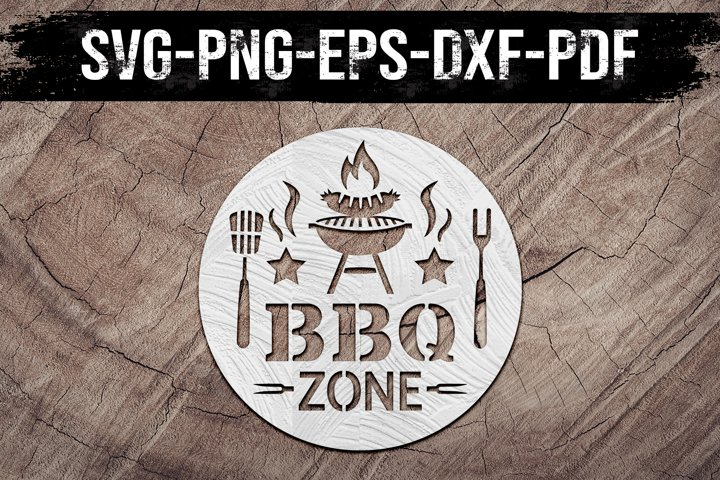 Bbq Zone Sign Paper Cut Template, Summer Decor SVG, PDF, DXF
