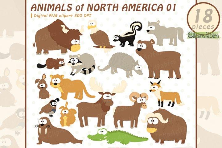 Cute ANIMALS clipart, Animals of North America, USA wildlife