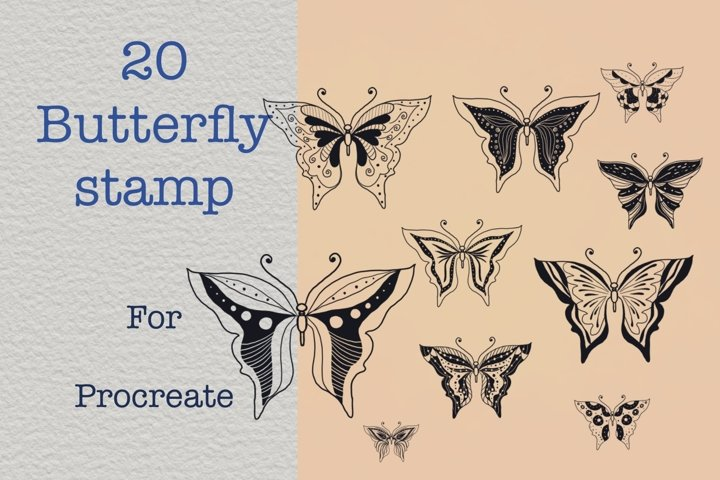 Procreate brushes 20 butterfly