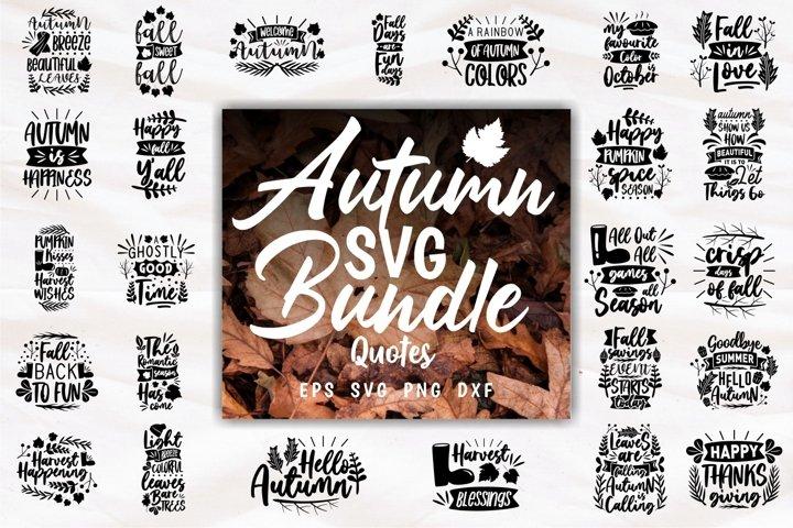 Autumn SVG Craft Quotes Slogans Bundle PNG Lettering