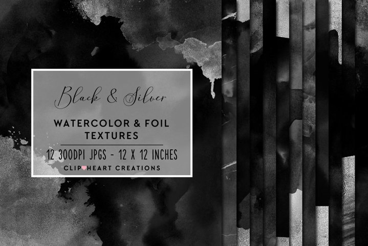 Black & Silver Watercolor and Foil Papers