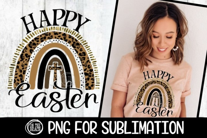 Happy Easter - Leopard - Rainbow - PNG for Sublimation