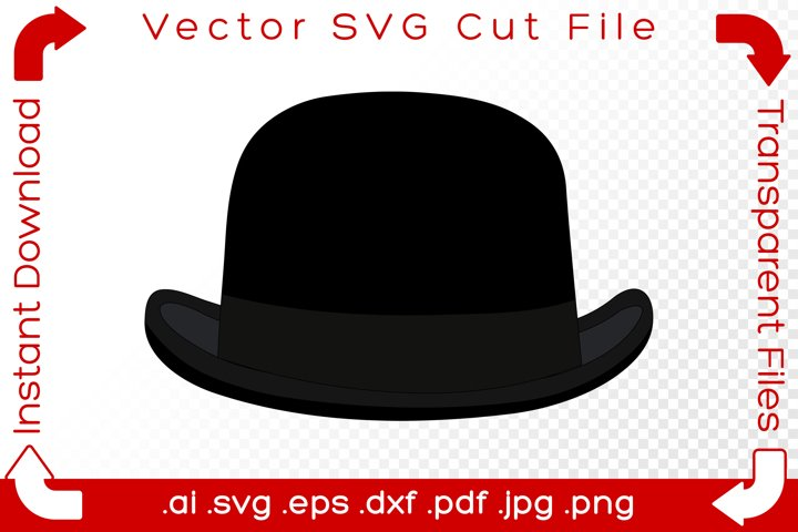 Bowlers Hat SVG Black Costume Cartoon Cut File for Crafters