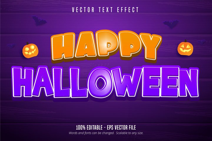 Happy halloween text, cartoon style editable text effect