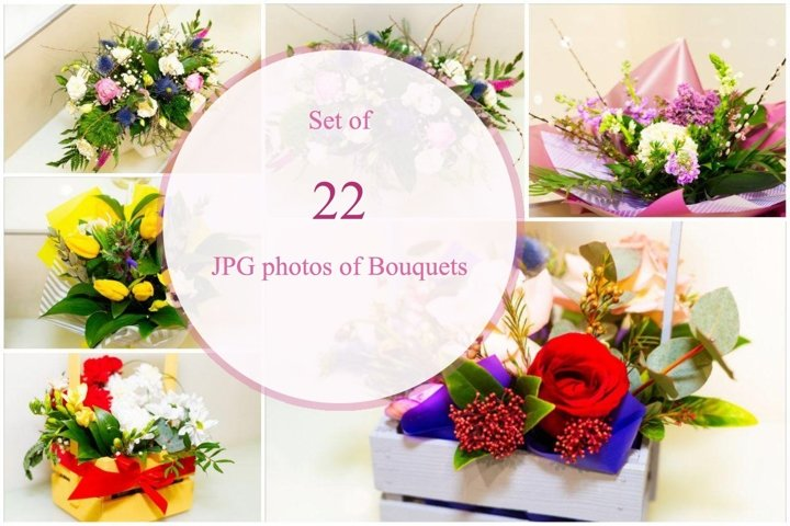 22 JPG Photos of flower Bouquets bundle