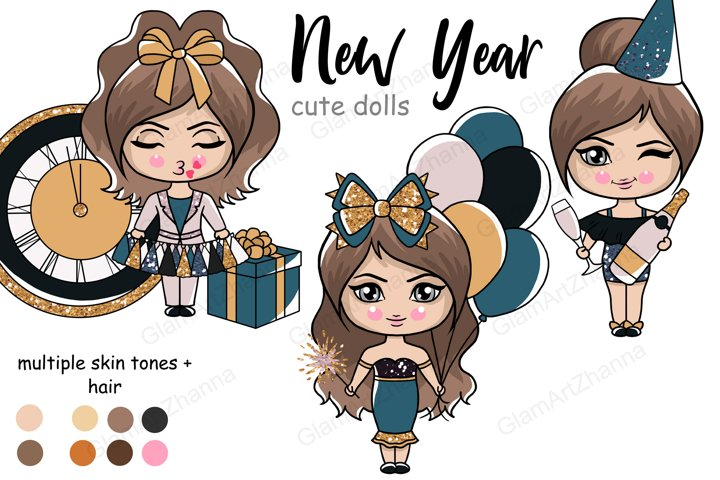 New Year CUTE DOLLS Winter Snowy Holiday Clipart PNG Files