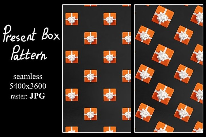 Present box pattern is created of orange gifts on black back