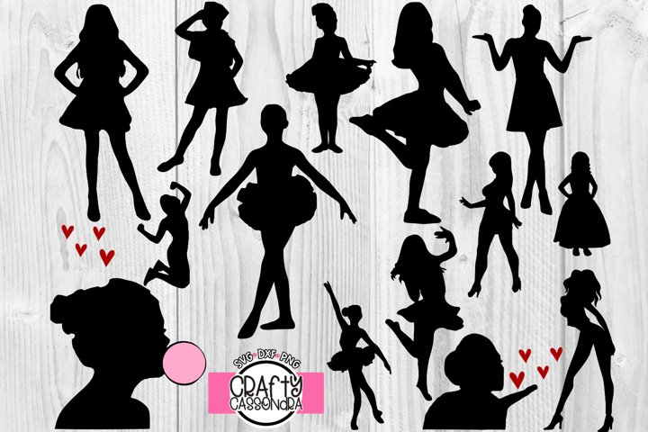 Silhouette girls / svg files for cricut cutting / diy lady