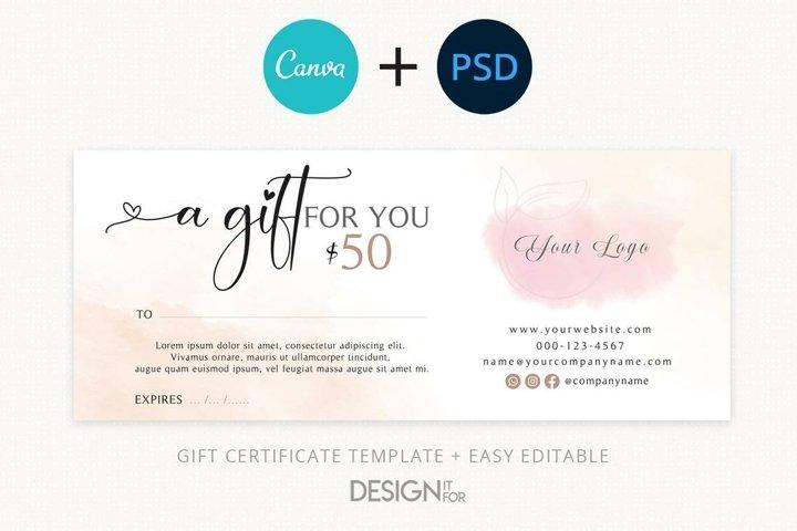 Gift Voucher Template, Editable Gift Certificate Template