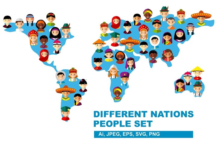 Map of world with multicultural national children, people on