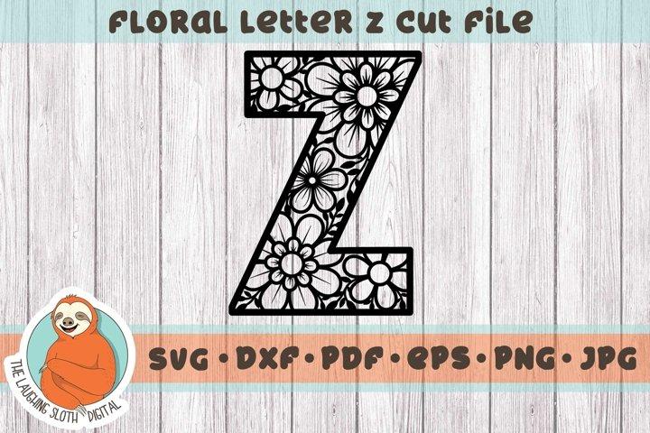 Flower Filled Letter Z SVG - Floral Letter Cut File