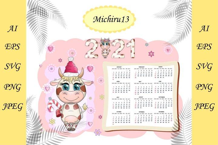 Calendar 2021 with kawaii cartoon cow