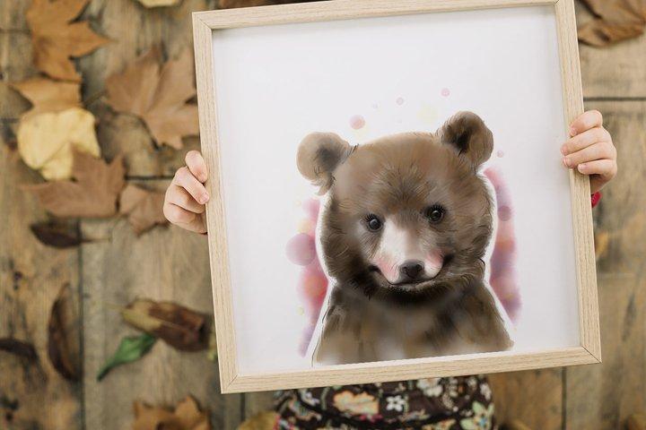 Watercolor baby bear, Woodland animal, Printable bear poster