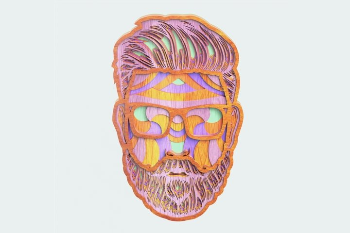 Multilayer Bearded Man Mandala, Vector file for cutting