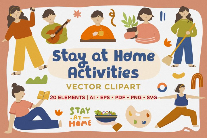 Stay at Home Activities Vector Clipart Pack