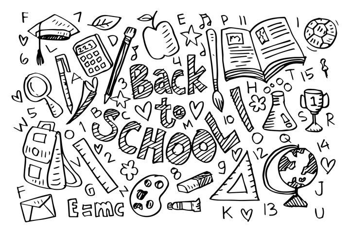 Back to School Supplies Sketchy Doodles Set