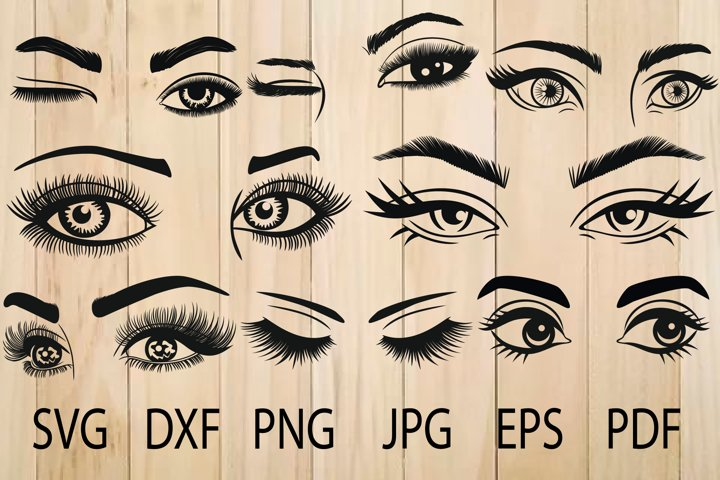 Eyes SVG, Eyelashes SVG, Eyebrow