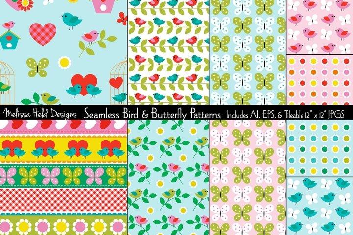 Seamless Bird & Butterfly Patterns