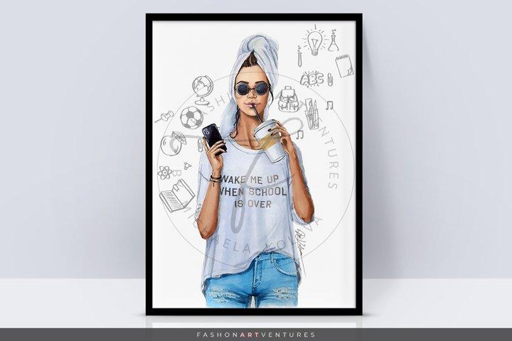 Back to school - Art print, lifestyle illustration