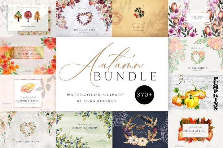 Watercolor fall clipart bundle Autumn watercolor kit