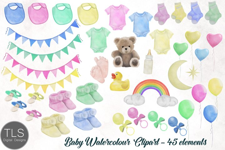 New Baby Watercolour Clipart Bundle