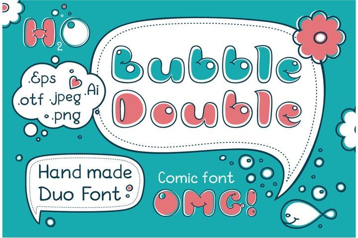 Bubble Double Duo font. Comic Alphabet.