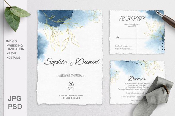 Indigo Wedding Invitation Suite. Editable template