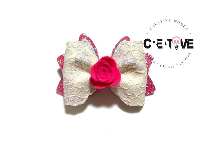 Cute Flower Bunny Hair Bow Digital Template   CWC134