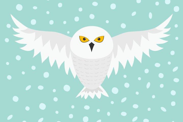 Snowy white owl. Flying bird