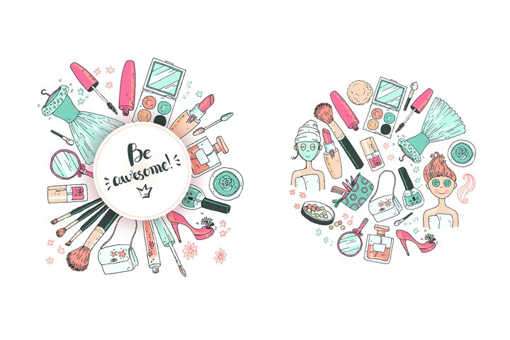 Doodle cosmetics, fashion, spa and beauty. Vector. - Free Design of The Week Design3