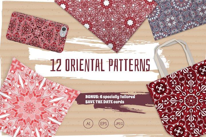 Set of 12 oriental seamless patterns