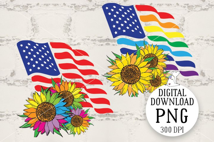 Patriotic&Flag, Lgbt Clipart, Sunflower, Sublimation design