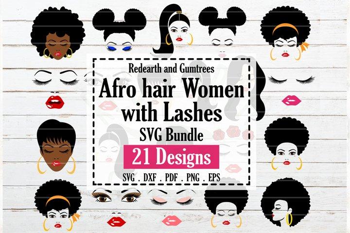 Afro hair women bundle SVG, Black women faces eyelashes SVG
