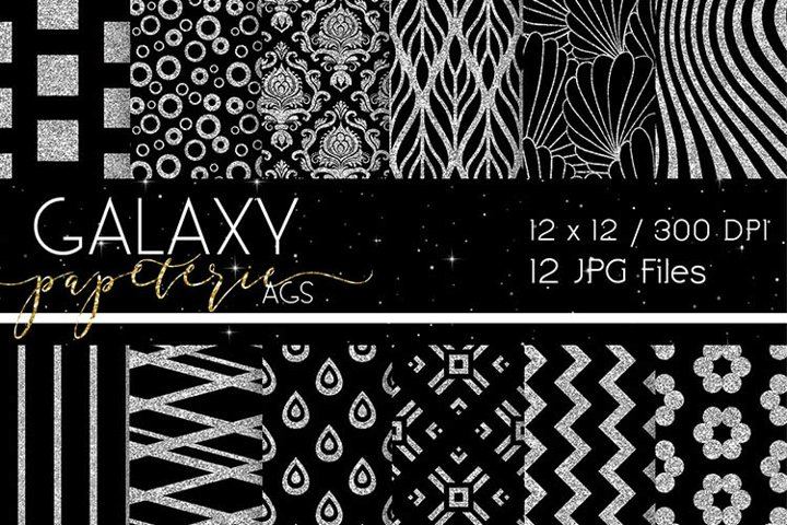 Black and Silver Glitter Digital Papers - Patterns