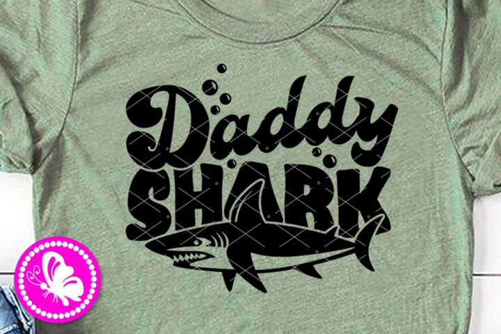 Daddy shark svg print clipart Dad Fathers day shirt Parents
