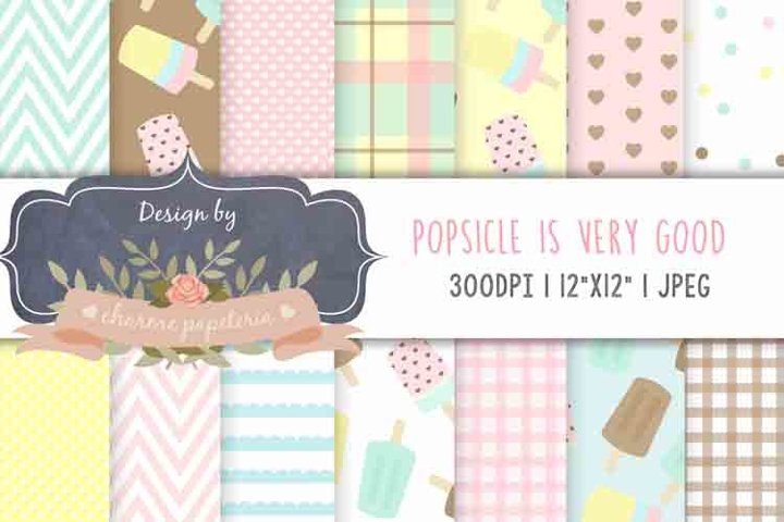 Popsicle digital paper, Popsicle ice cream party background