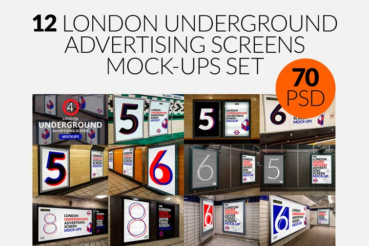 12 London Underground Ad Screen Mock-Ups Bundle / 70 PSD
