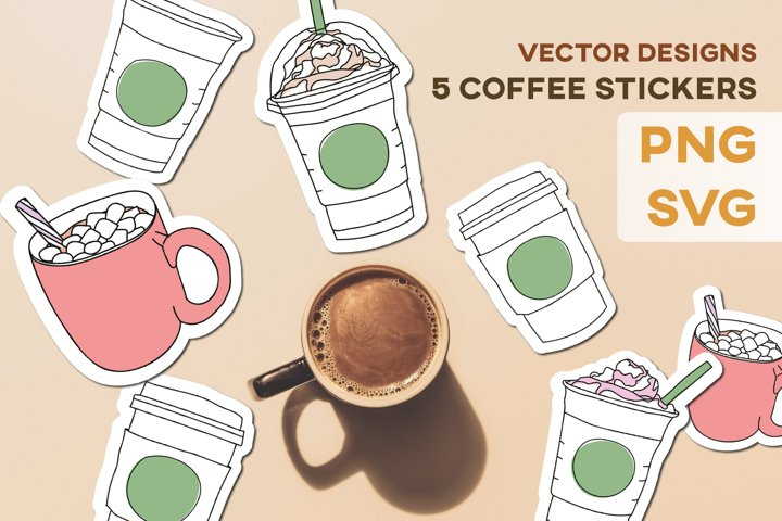 Coffee Tea Cups Mugs Stickers Design KIT Sublimation Vector