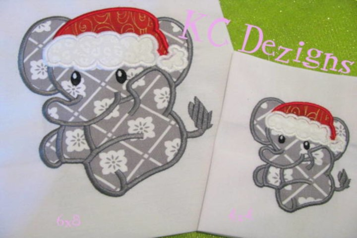 Christmas Baby Elephant Machine Applique Embroidery Design