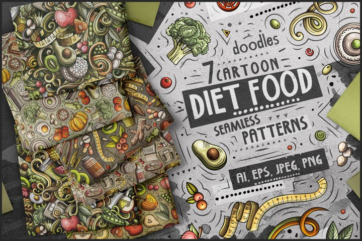 Diet Food Cartoon Seamless Patterns