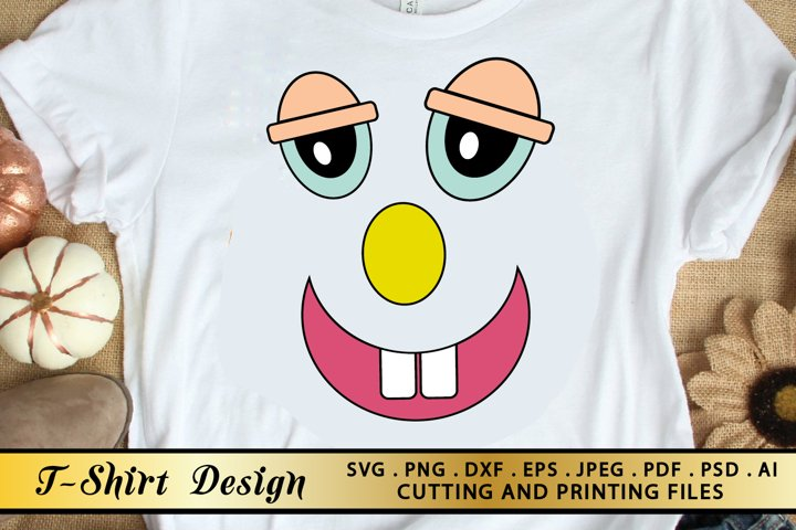 Funny Face SVG PNG EPS DXF-Funny Shirt Design-Cartoon Face